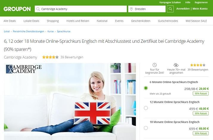 Screenshot: Groupon.de Website - Details zum Sprachkurs der Cambridge Academy